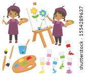 happy little girl painting and...   Shutterstock .eps vector #1554289637