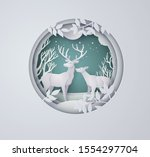 deer in forest with snow in the ... | Shutterstock .eps vector #1554297704