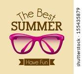 summer design over pink... | Shutterstock .eps vector #155435879
