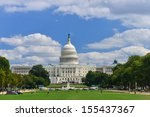Stock photo washington dc us capitol building in a cloudy day 155437367