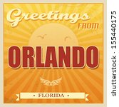 Vintage Touristic Greeting Card - Orlando, Florida, vector illustration