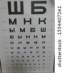 Small photo of Russian letters to test visual acuity(SH, B, M, N, K, Y, M, B, S, H, B, Y, N, K, M, I, N, SH, M, K, N, SH, Y, I, K, B)