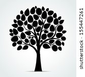 Stock vector black tree silhouette vector illustration 155447261