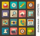 flat icons set for web and... | Shutterstock .eps vector #155451701