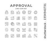 set line icons of approval | Shutterstock .eps vector #1554543731