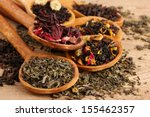 Assortment Of Dry Tea In Spoon...