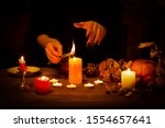 Witch Burns A Herb On The Altar ...