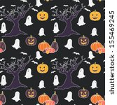 hand drawn halloween seamless... | Shutterstock .eps vector #155469245