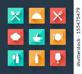 Collection Flat Icons Food And...