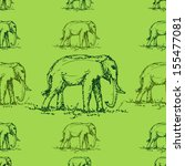 seamless green tone elephant