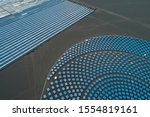 Aerial view of Linear Fresnel Concentrating Solar thermal plant - stock photo