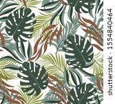 summer seamless tropical... | Shutterstock .eps vector #1554840464