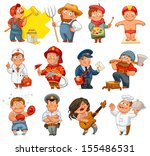 professions. builder  painter ... | Shutterstock .eps vector #155486531