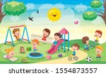 children playing in the park | Shutterstock .eps vector #1554873557