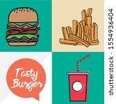 tasty burger for advertising... | Shutterstock .eps vector #1554936404