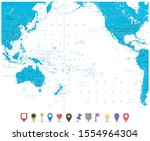 pacific ocean map and roads... | Shutterstock .eps vector #1554964304