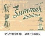 retro summer holidays sign | Shutterstock .eps vector #155498087