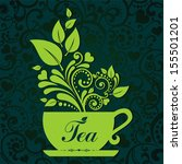 cute tea time card. cup with... | Shutterstock .eps vector #155501201
