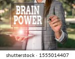Small photo of Handwriting text Brain Power. Concept meaning Ability to comprehend To understand and profit from experience Outdoor background with business woman holding lap top and pen.