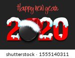 snowy new year numbers 2020 and ... | Shutterstock .eps vector #1555140311