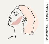 woman portrait face in one line ... | Shutterstock .eps vector #1555153337