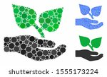 flora care hand mosaic of round ... | Shutterstock .eps vector #1555173224