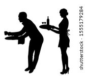 silhouette of waiter and... | Shutterstock .eps vector #1555179284