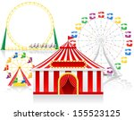 circus tent and attractions... | Shutterstock .eps vector #155523125