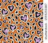 stylish animal skin on hearats... | Shutterstock .eps vector #1555253387
