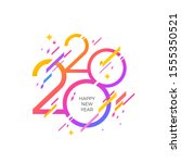2020 new year logo with... | Shutterstock .eps vector #1555350521