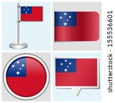 samoa flag   set of various... | Shutterstock . vector #155536601