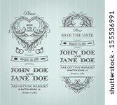 set of vintage wedding... | Shutterstock .eps vector #155536991