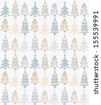 doodle textured christmas trees ... | Shutterstock .eps vector #155539991