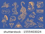old school tattoo stickers set. ... | Shutterstock .eps vector #1555403024
