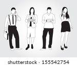 set of people using smart... | Shutterstock .eps vector #155542754