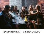 Friends Party In Hookah Lounge. ...