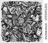 fastfood hand drawn doodles...   Shutterstock . vector #1555451201