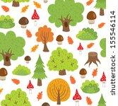 seamless pattern autumn trees... | Shutterstock . vector #155546114
