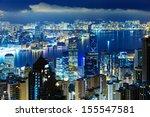 hong kong city at mid night | Shutterstock . vector #155547581
