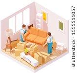 vector isometric moving service ...   Shutterstock .eps vector #1555511057