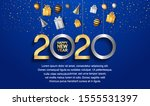happy new year 2020. vector... | Shutterstock .eps vector #1555531397