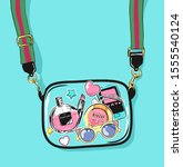 girl's accessories in see... | Shutterstock .eps vector #1555540124