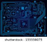 hi tech dark blue industrial... | Shutterstock .eps vector #155558075
