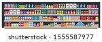 grocery shelf in a supermarket...   Shutterstock .eps vector #1555587977