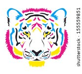 Tiger Head Colored Cmyk Colors...