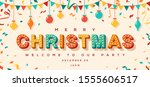 merry christmas card or... | Shutterstock .eps vector #1555606517