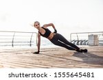 healthy woman training on... | Shutterstock . vector #1555645481
