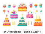birthday cakes. party... | Shutterstock .eps vector #1555663844