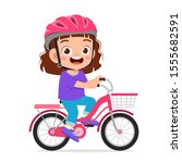 Happy Cute Kid Girl Riding Bike ...