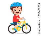 Happy Cute Kid Boy Riding Bike...